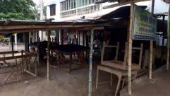Wood, Plywood, Patio, Furniture, Chair, Restaurant, Porch, Person, Tabletop, Building, Cafe, Table, Pergola, Urban, Dining Table