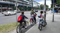 Vehicle, Bicycle, Bike, Transportation, Wheel, Machine, Road, Person, Intersection, Automobile, Car, Asphalt, Tarmac, Sport, Sports