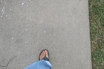 Sidewalk, Walking, feet, Footwear, Denim, Jeans, Flip-Flop, Sandal, Barefoot, Floor, Pavement