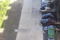 Automobile, Car, Vehicle, Bumper, Wheel, Parking, Parking Lot, Road, Urban, Sedan, Bus, Building, City, Town, Path