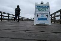 Water, Waterfront, Pier, Boardwalk, Path, Railing, Billboard, Pedestrian, People, Banner, distancing