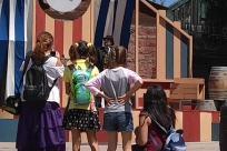 Woman, People, Crowd, Footwear, Girl, Shoe, Symbol, Flag, Pants, Wood, American Flag, Plywood