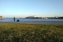 Walking, Ship, Vehicle, Working Out, Sports, Sport, Fitness, Exercise, Grass, Plant, Jogging, People, Freighter, Tanker, Boat
