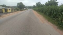 Road, Vehicle, Automobile, Car, Freeway, Highway, Gravel, Dirt Road, Path, Plant, Building, City, Street, Town, Vegetation