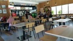 Restaurant, Chair, Furniture, Cafeteria, Food, Food Court, Cafe, Table, Dining Table, Building, Neighborhood