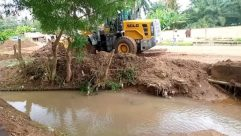 Water, Ditch, Soil, Bulldozer, Vehicle, Tractor, Land, Plant, Vegetation, Wildlife, Giraffe, Offroad, Countryside, Shelter, Building