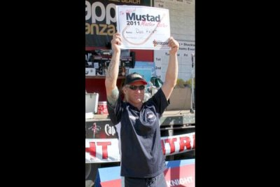 Dave Hellett with his Mustad Master Baiter prizes.