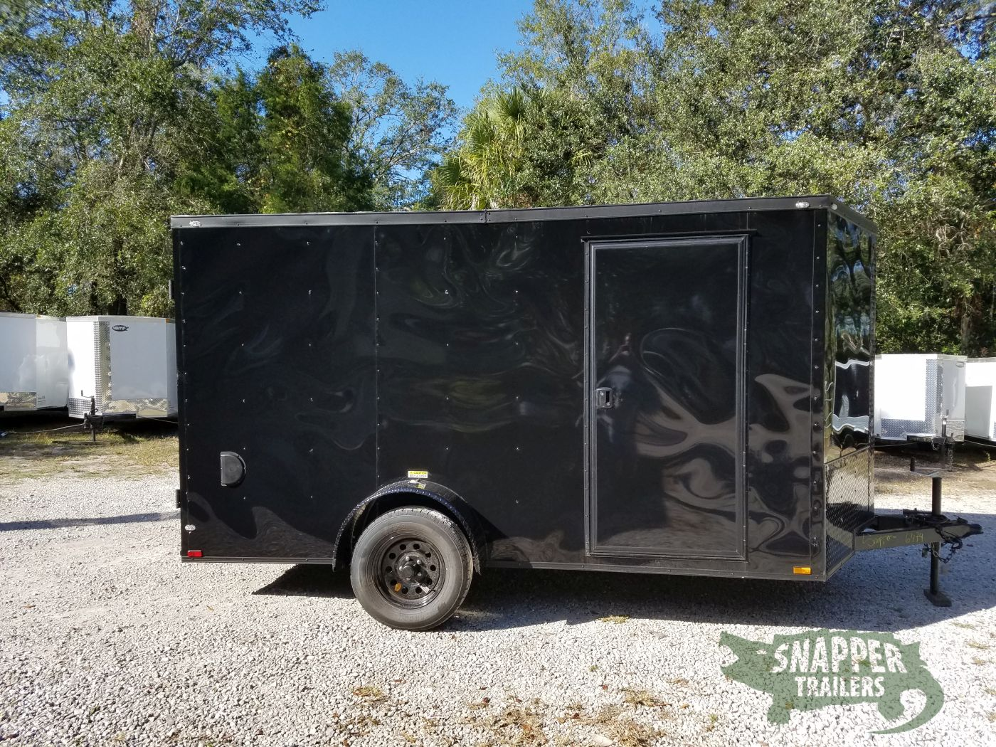 7x12 SA Trailer - Black with Blackout Package, Barn Doors, Side Door,  Brakes, Extra Height | Snapper Trailers