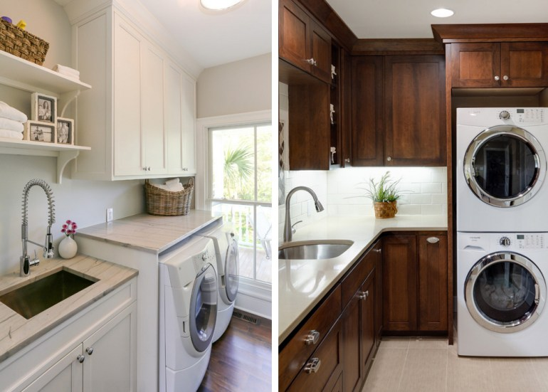 dream laundry room - natural light, creative space, washer dryer, white, tile, wood, storage