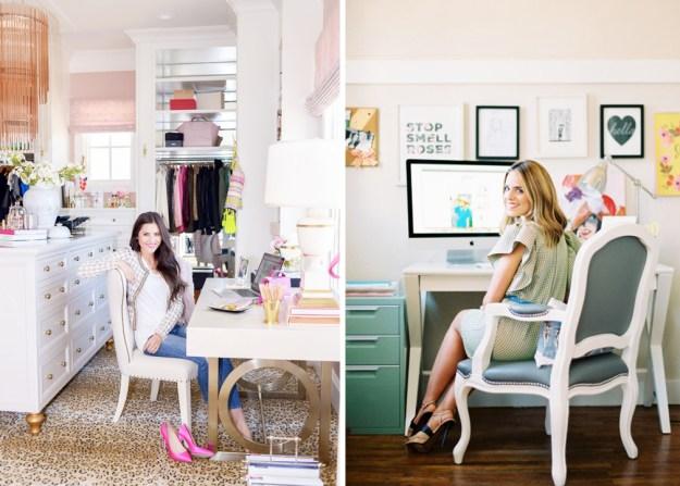 creative desk space home office modern white gold blogger