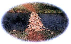Rocks as a path across the stream