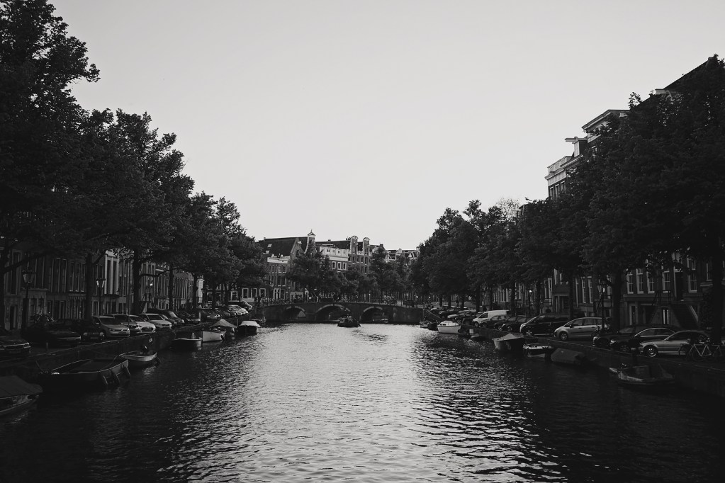 Amsterdam canal black and white