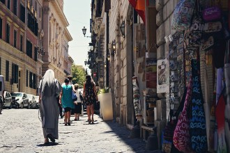 streets of Italy with a nun