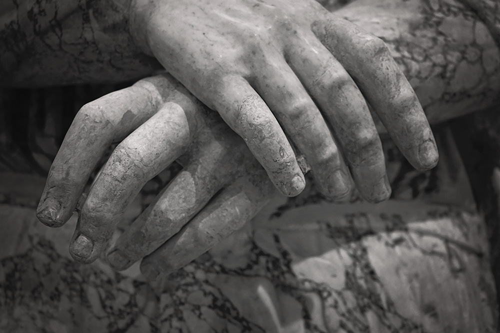 marble hands at the Vatican