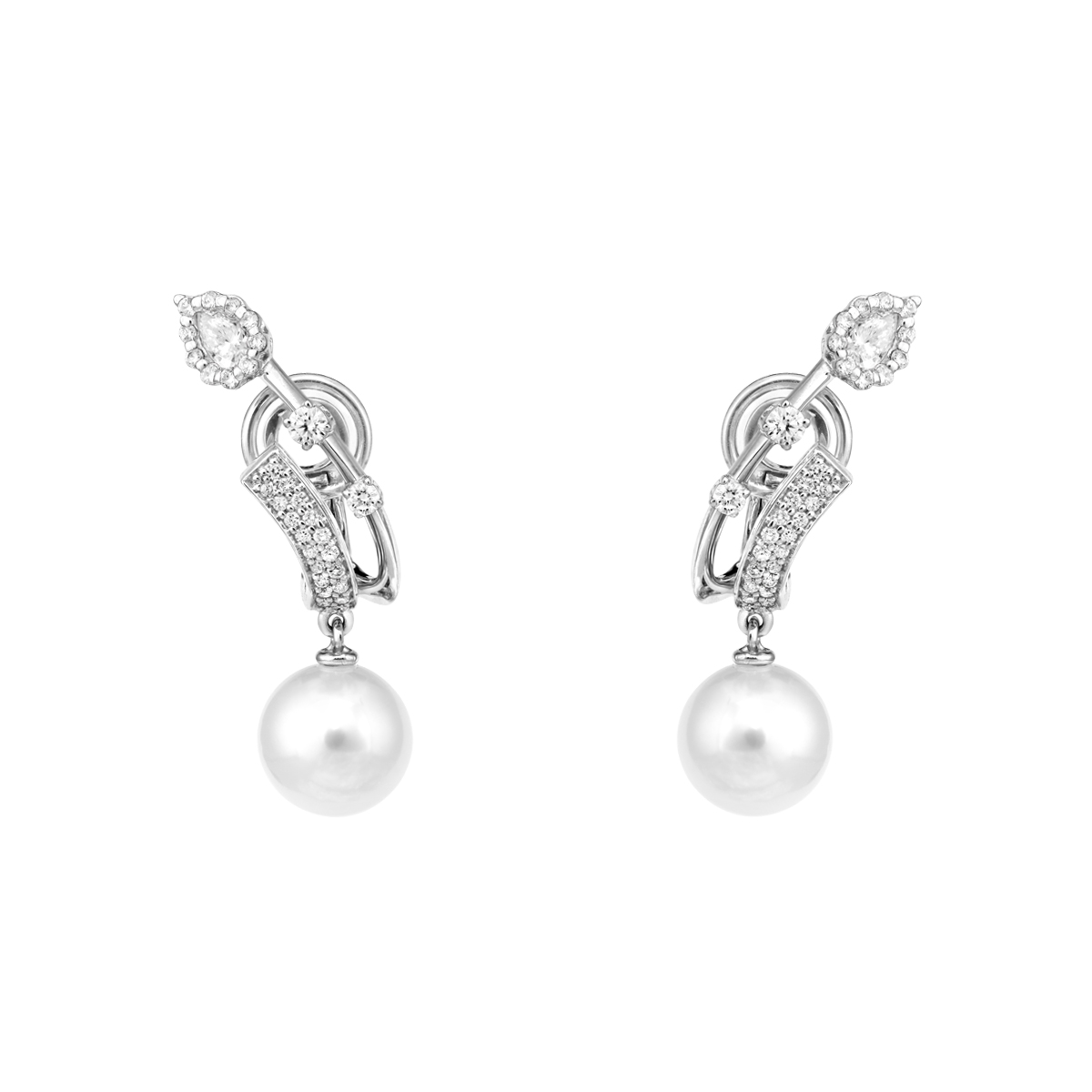 Pearlescent Earrings by YEPREM in 18K White Gold with Diamonds and 2 Pearls ($5,200)