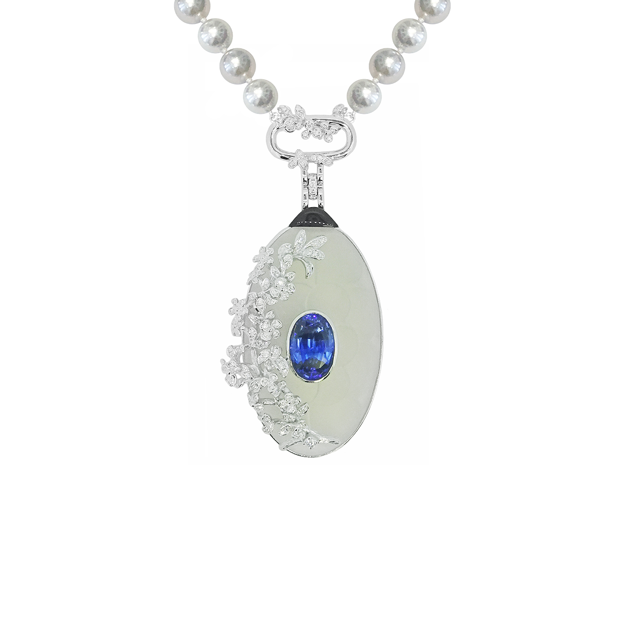 The Georgian Locket by Simone in 18K White Gold with Tanzanite, Diamonds, Blue Pearls, White Quartz and Black Onyx ($46,325).