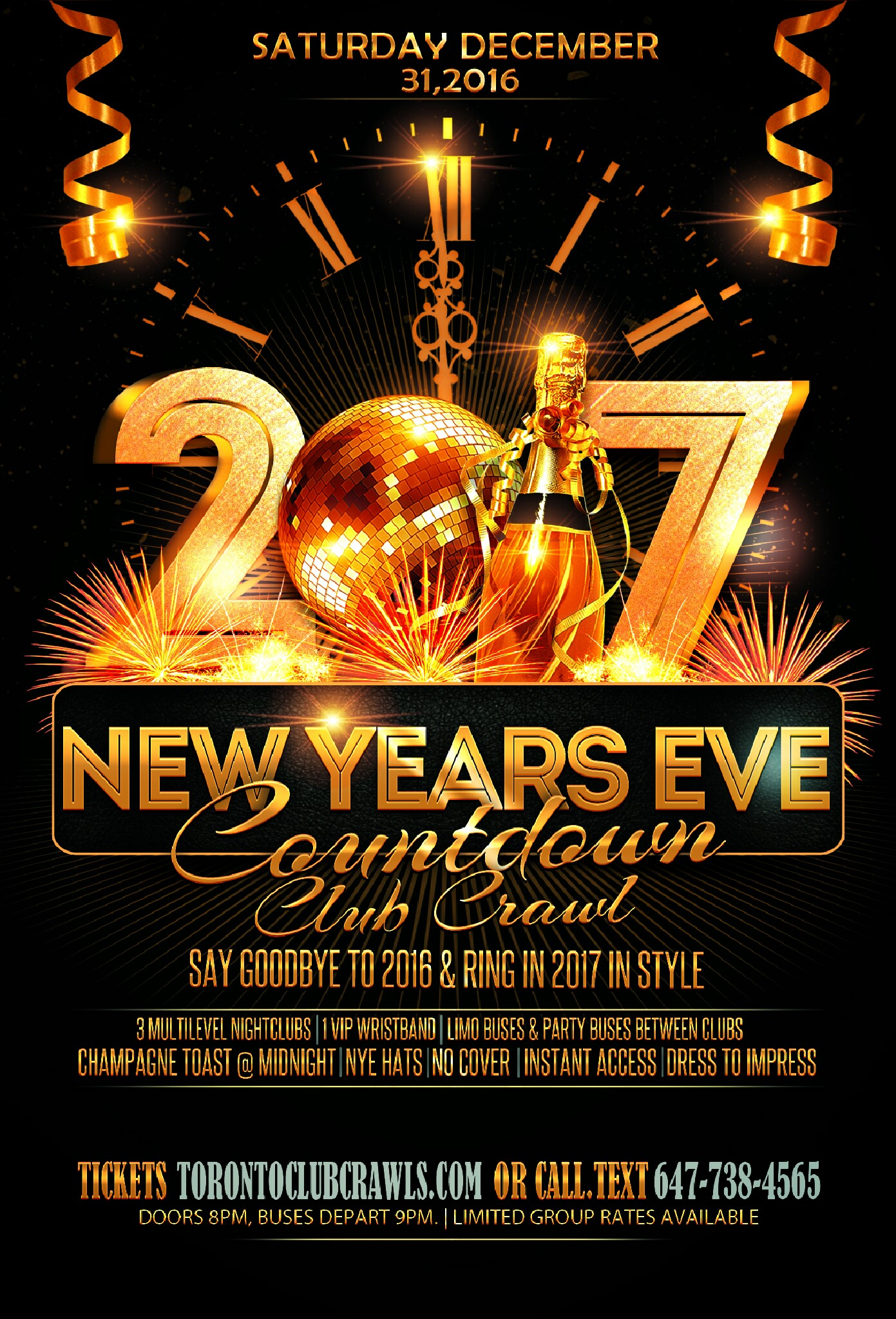 Toronto New Years Eve Club Crawl Countdown