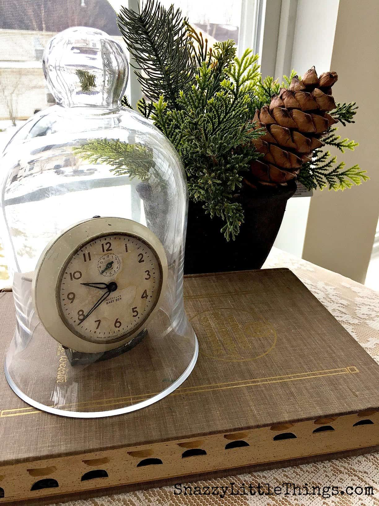 winter decorating ideas Winter Decorating Ideas   Old Clock Under Cloche with Evergreens