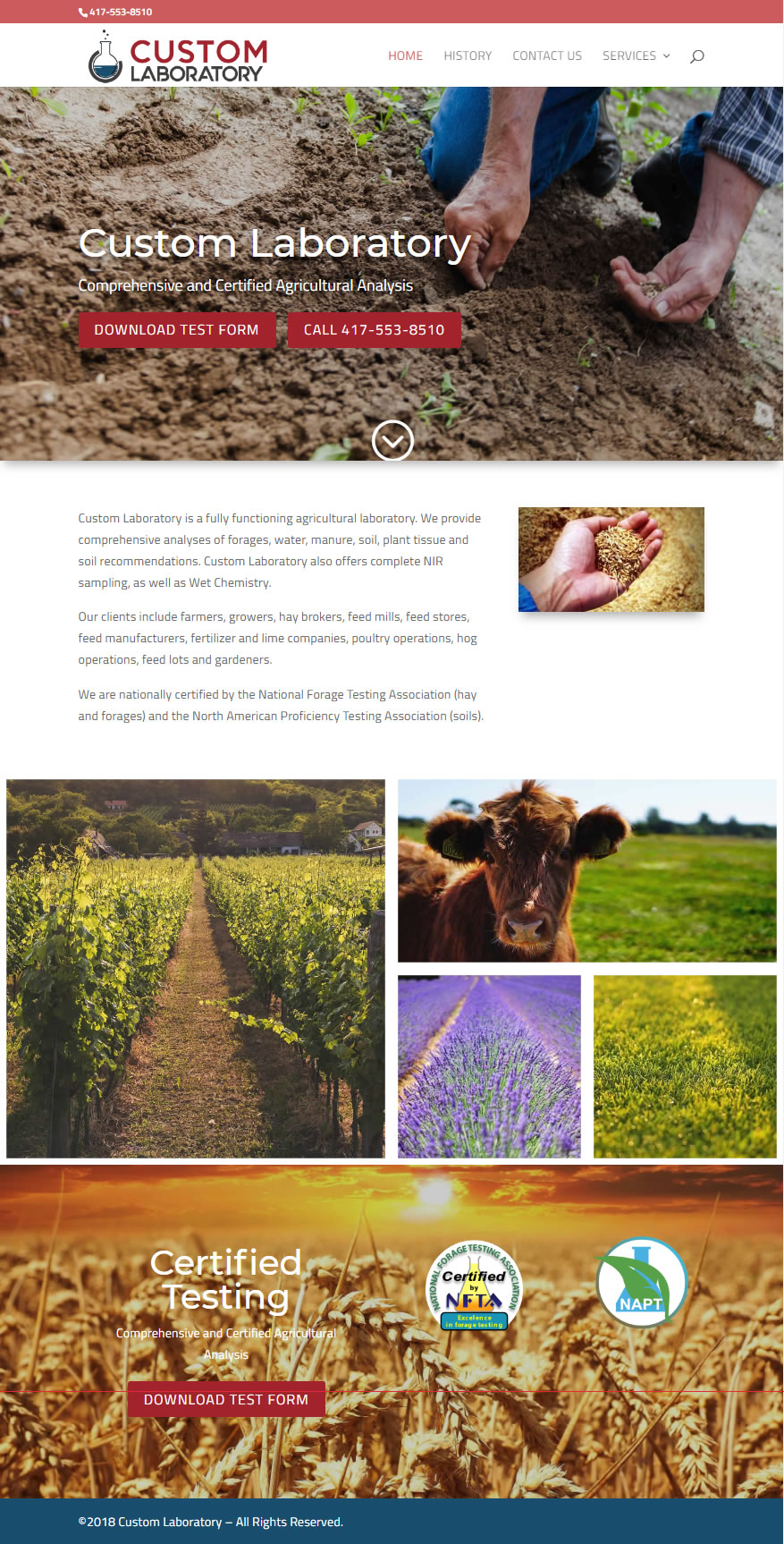Missouri Agricultural Laboratory Website Design