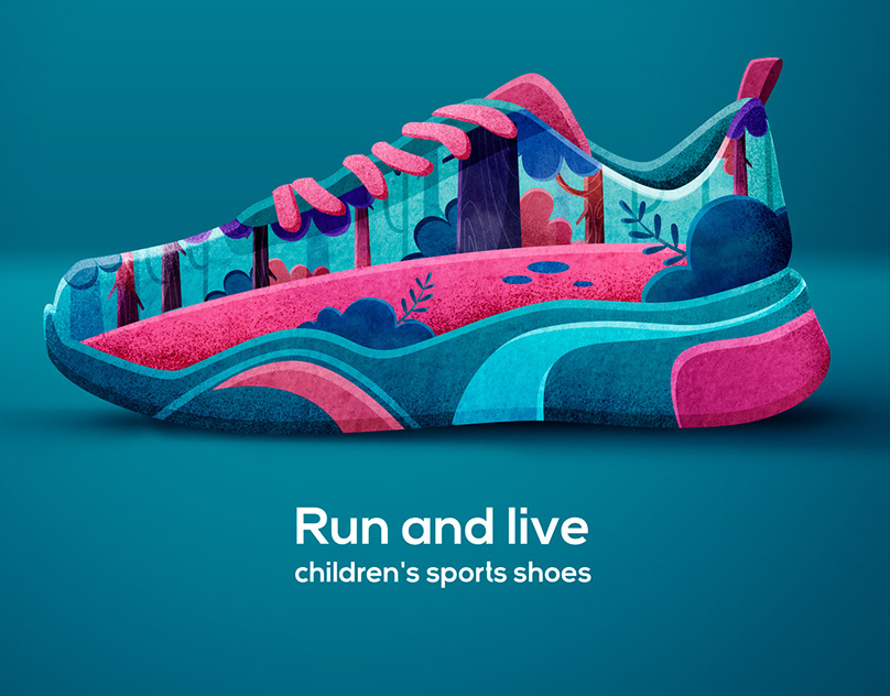 RUN AND LIVE. Shoes concept.