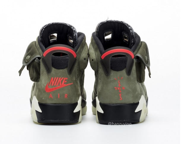 Travis Scott x Air Jordan 6 hátulról