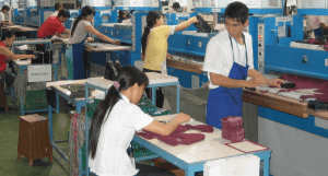 Shoe Parts being cut, sports shoe manufacturing process