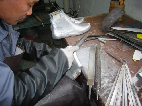 The metal lasts being hand finished