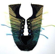 One piece knit shoe pattern for knit upper shoe
