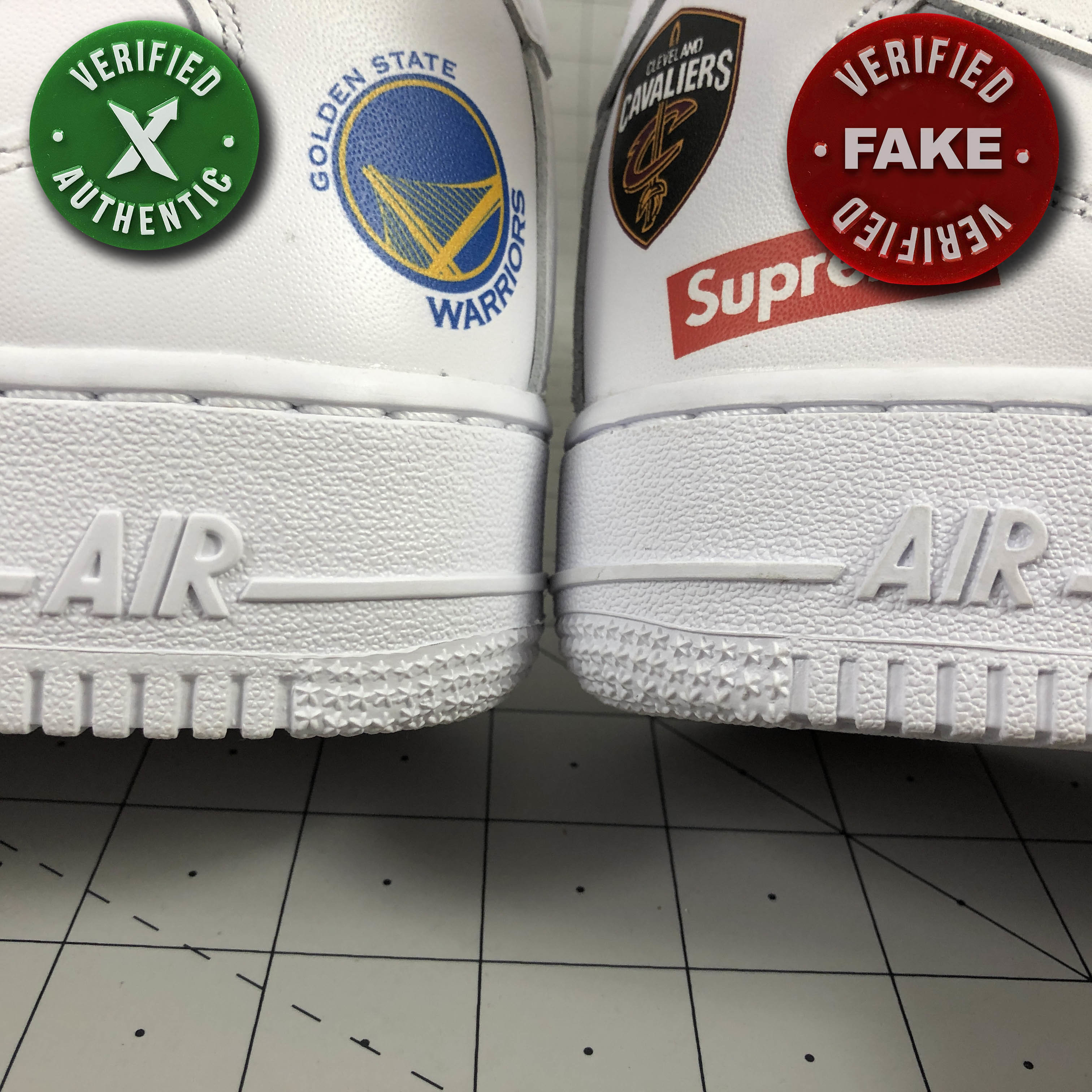 Nike Supreme Air Force 1 Mid : Real vs. Fake - How Shoes are Made ...