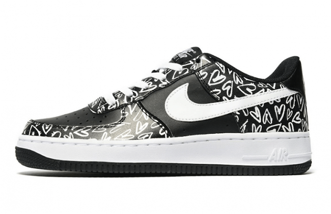 Nike Air Force 1 Low Hearts Black White SneakerFiles