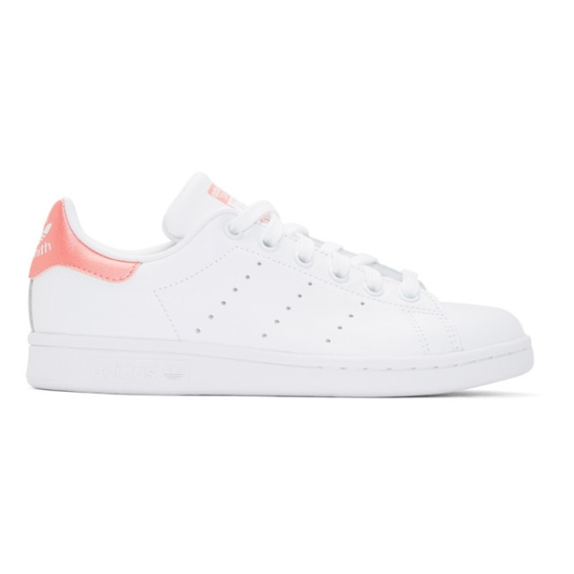 adidas Originals White and Pink Stan Smith Sneakers
