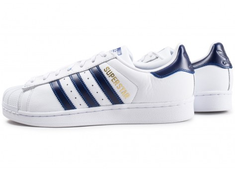 adidas Superstar Foundation blanc et bleu marine