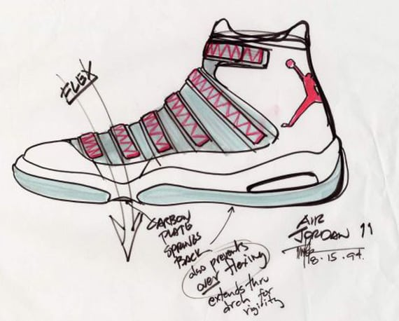 Air Jordan 11 original sketch by Tinker Hatfield