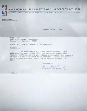 La lettre de la NBA destinée à Rob Strasser