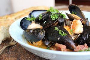 Shrimp and Mussels in a White Wine Sauce