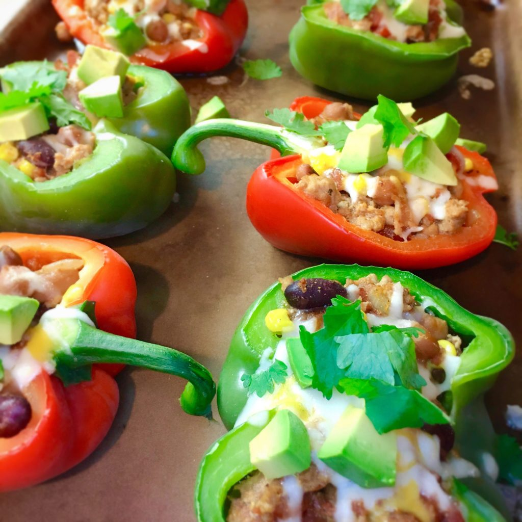 Turkey & Bacon Chili Stuffed Peppers