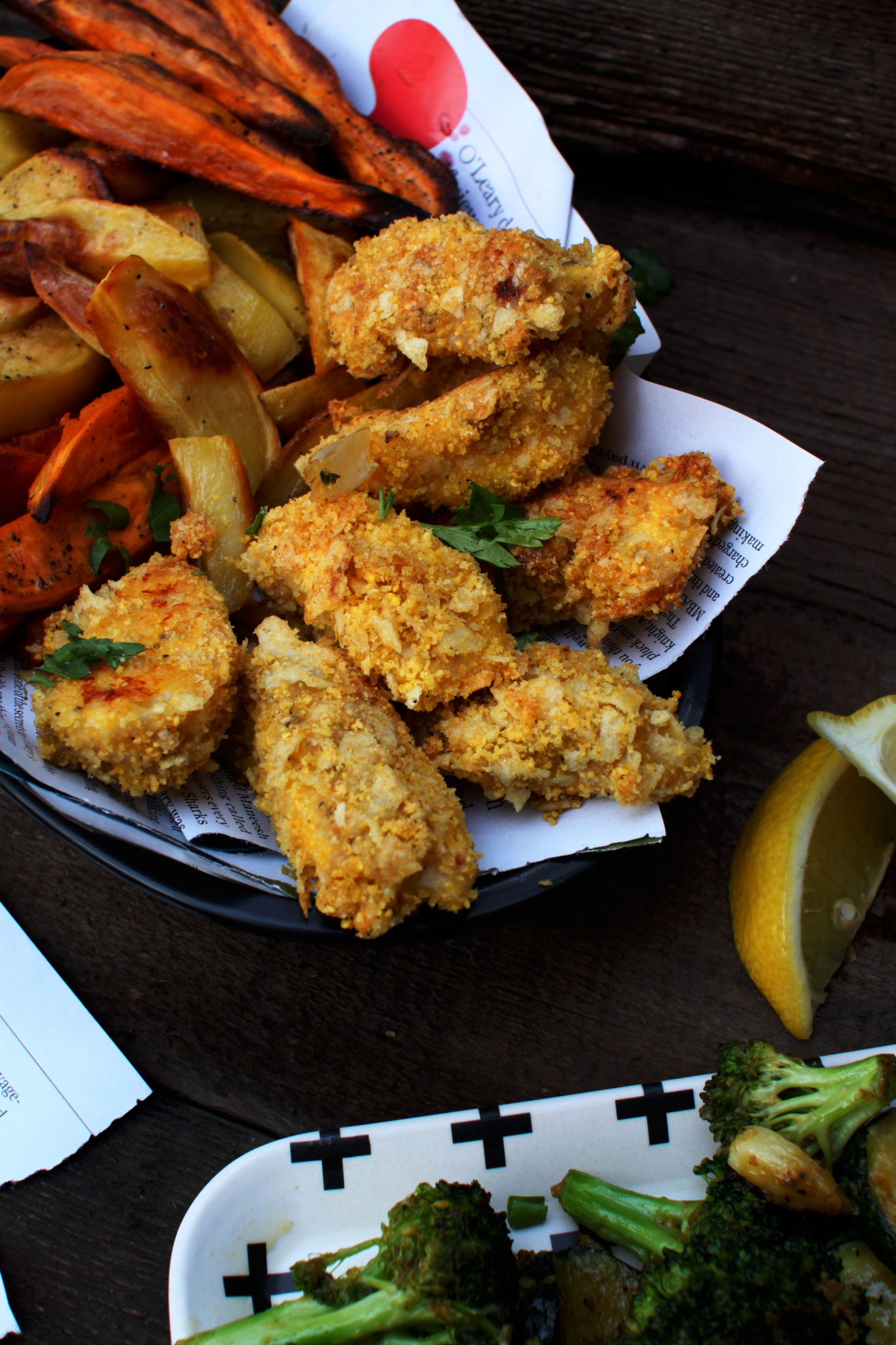 Kid Friendly Fish Sticks with Home Fries & Roasted Veggies