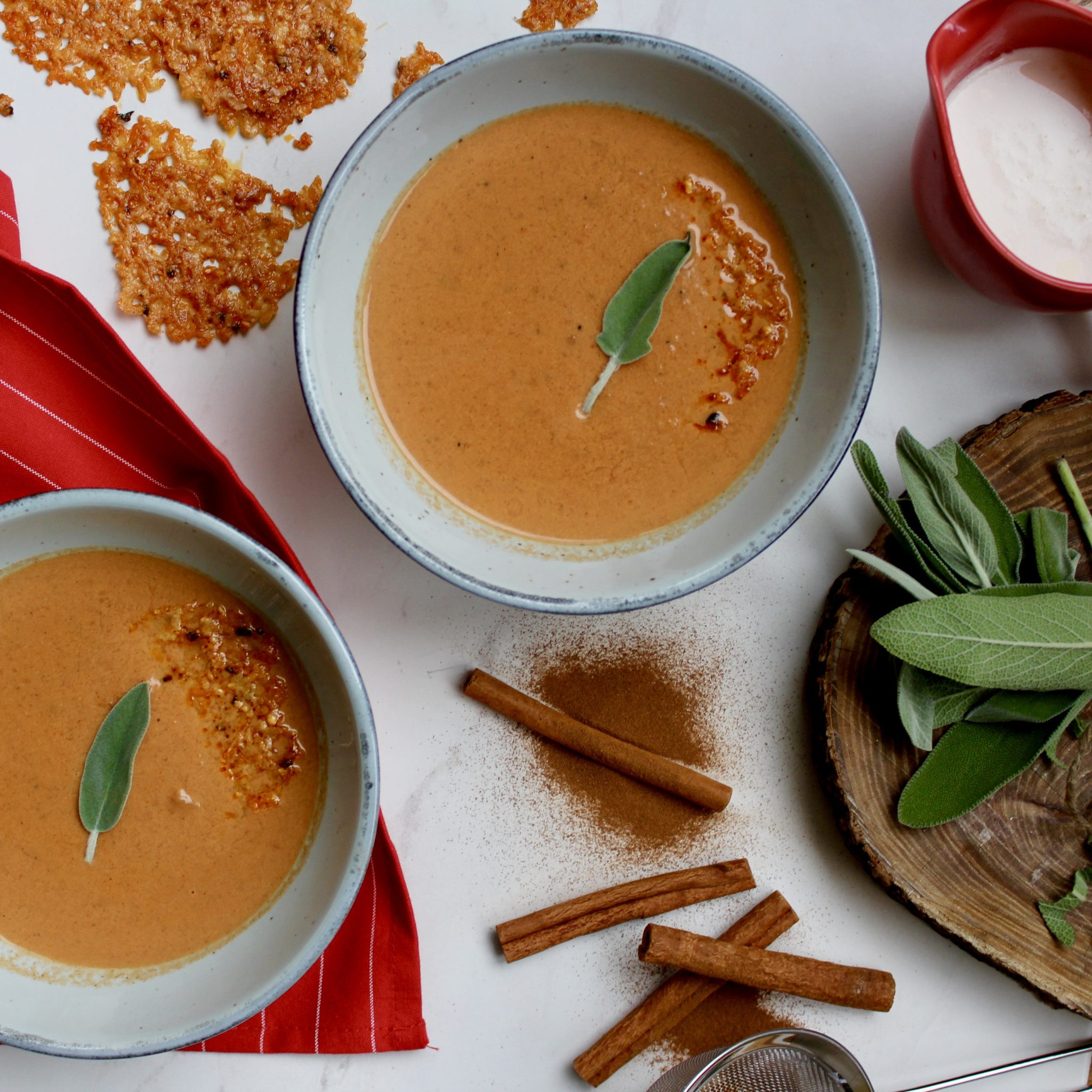Tomato and Sage Spiced Soup with Parmesan Crisps