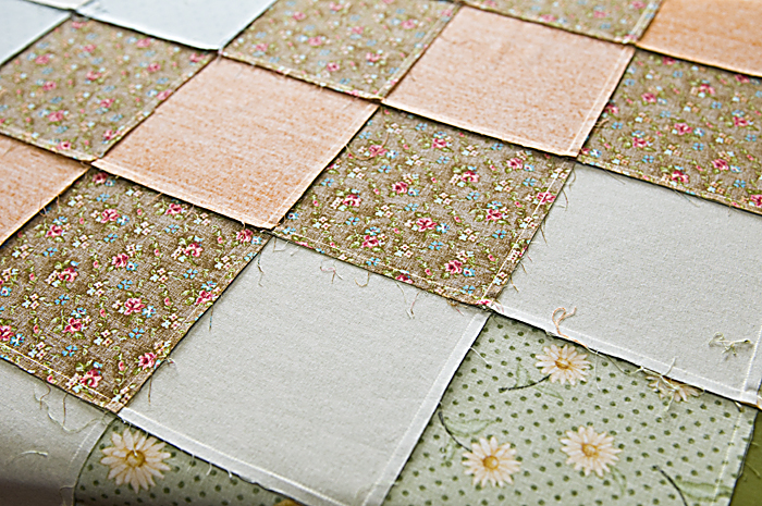 Seam allowances in the back side of the patchwork