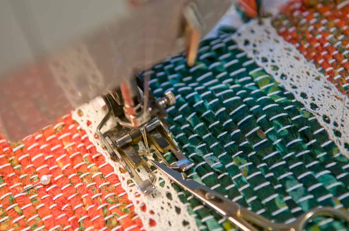Attaching the cotton lace ribbons