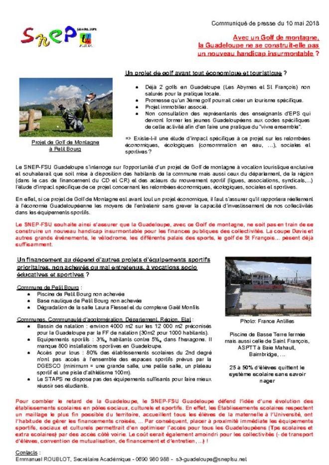 thumbnail of 20180510, CP SNEP FSU, Avec un Golf de montagne, la Guadeloupe ne se construit-elle pas un nouveau handicap insurmontable