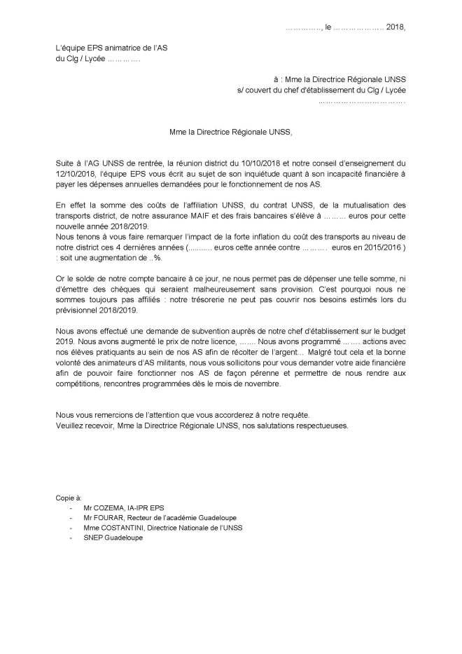 thumbnail of Courrier type Directrice Régionale UNSS état financier AS