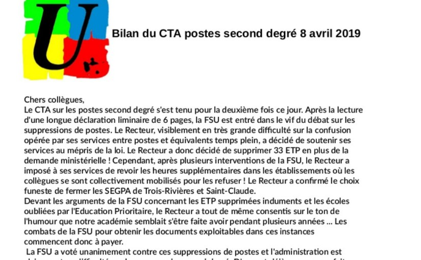 Bilan du CTA postes second degré 8 avril 2019