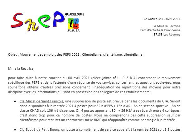 Mouvement et poste EPS 2021 Clientélisme, clientélisme, clientélisme !