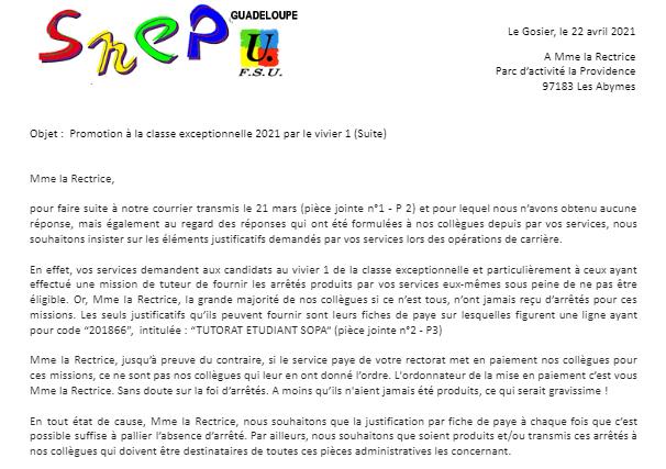 Courrier SNEP-FSU à Mme la Rectrice concernant la promotion à la classe exceptionnelle 2021 par le vivier 1 (suite)