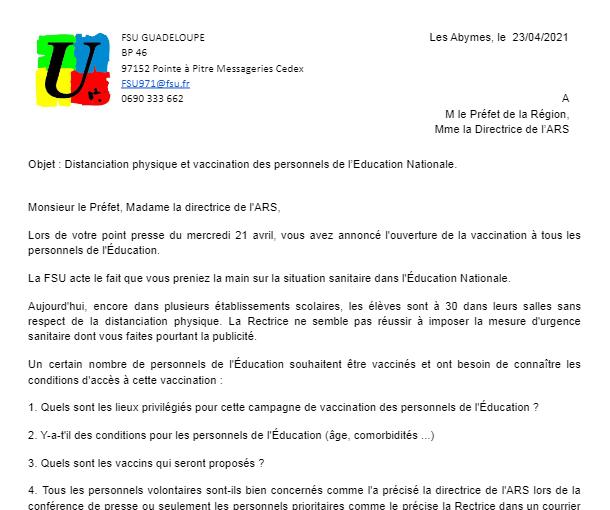 Courrier FSU Guadeloupe au Préfet concernant la distanciation physique et la vaccination des enseignants