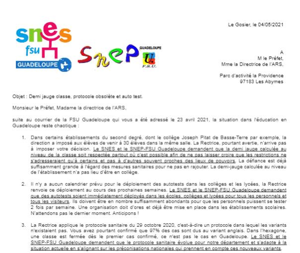 Courrier SNES et SNEP-FSU à M le Préfet et Mme la directrice de l'ARS, Demi jauge, protocole obsolète et auto test