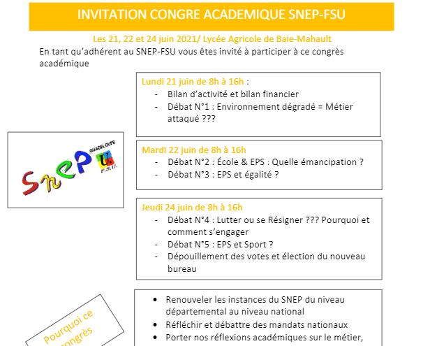 Invitation Congrès académique 2021