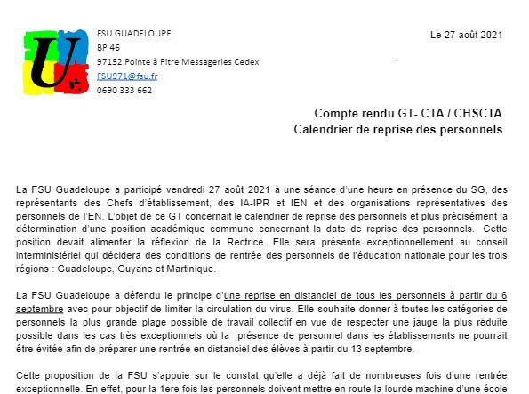 Compte rendu n°2 GT Protocole sanitaire du 27 aout 2021