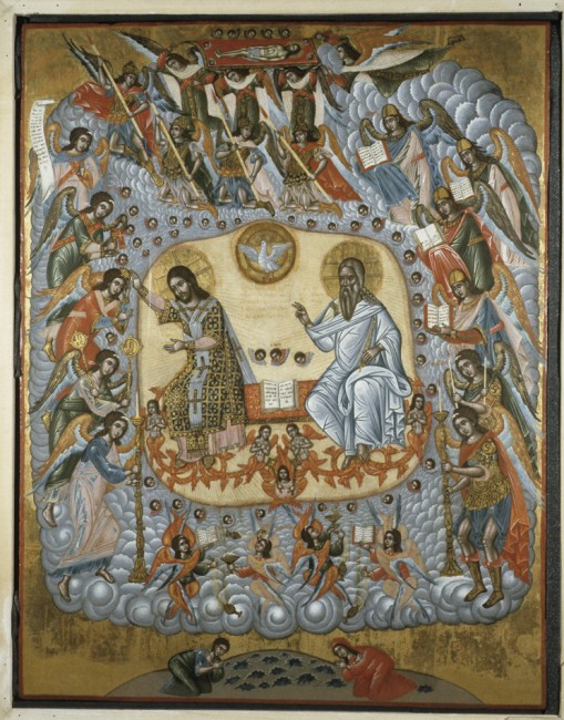 The Son of Man sitting with God: Daniel's vision, and also reported by Stephen. The Son of Man sitting with God: Daniel's vision, and also reported by Stephen. (Byzantine art from the University of Notre Dame, Medieval Division)